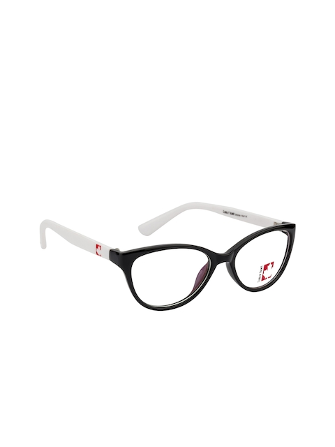 Clark N Palmer Unisex Black & White Solid Full Rim Cateye Frames CNP-TR1820