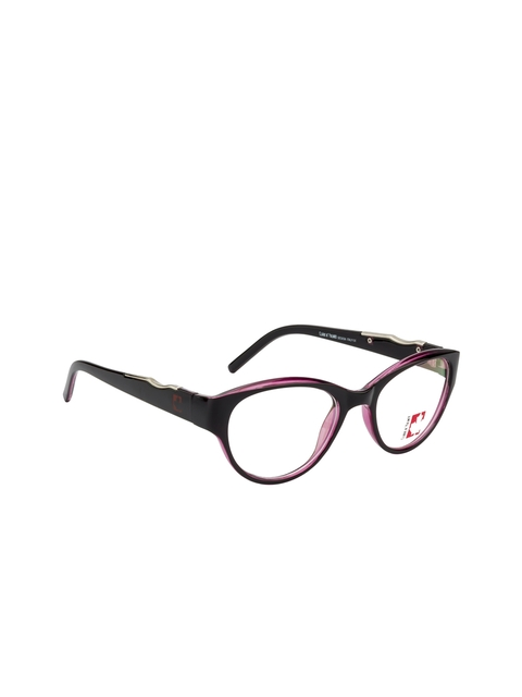 Clark N Palmer Unisex Black & Purple Embellished Full Rim Cat-eye Frames