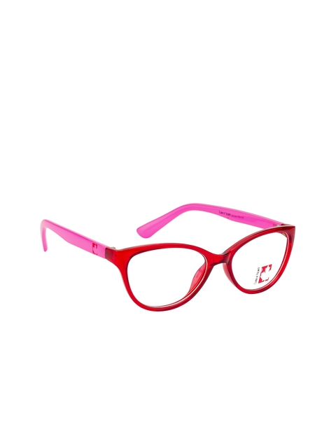Clark N Palmer Unisex Red & Pink Solid Full Rim Cateye Frames