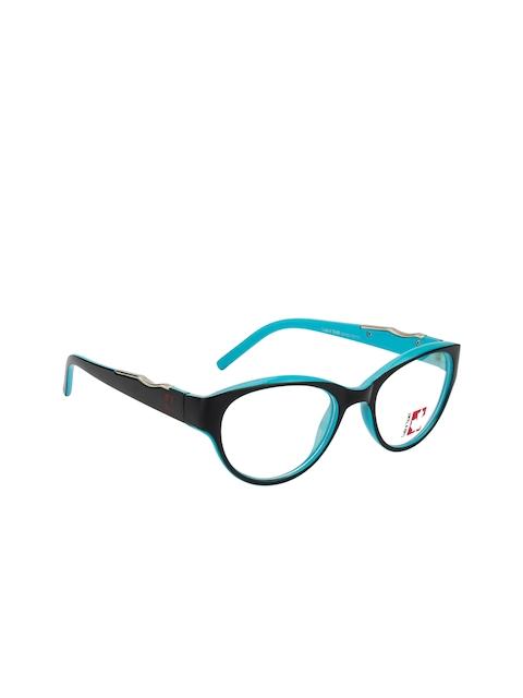 Clark N Palmer Unisex Black & Blue Colourblocked Full Rim Cat-eye Frames