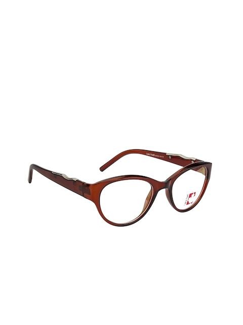 Clark N Palmer Unisex Brown Embellished Full Rim Cat-eye Frames