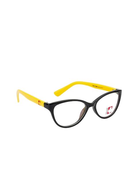 Clark N Palmer Unisex Black & Yellow Solid Full Rim Cateye Frames CNP-TR1824