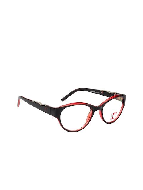 Clark N Palmer Unisex Red & Black Colourblocked Full Rim Cateye Frames