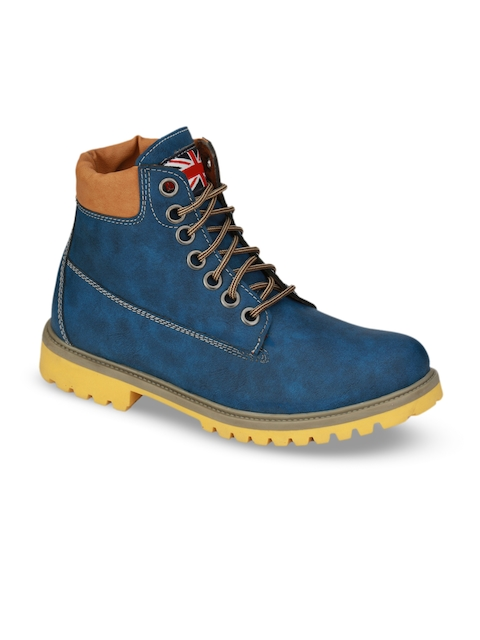 Eego Italy Men Blue Solid Synthetic Leather Mid-Top Flat Boots