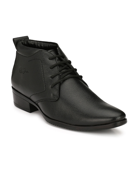 Eego Italy Men Black Solid Synthetic Leather Mid-Top Flat Boots