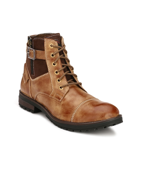Eego Italy Men Tan Solid Synthetic Leather Mid-Top Flat Boots