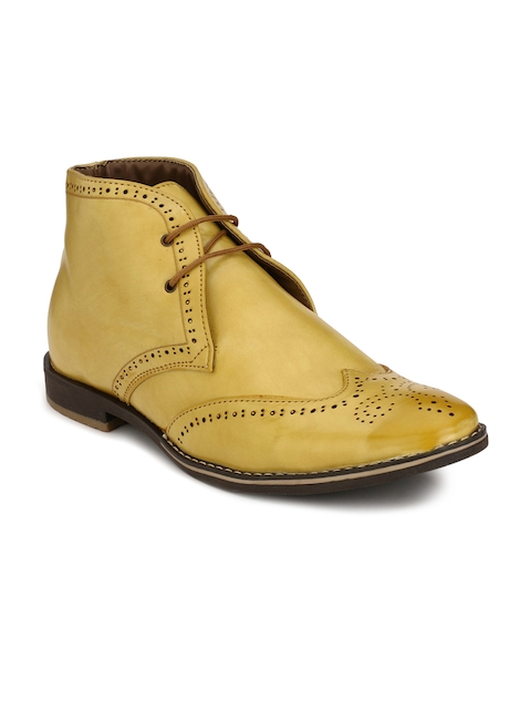 Eego Italy Men Yellow Solid Synthetic Leather Mid-Top Flat Boots