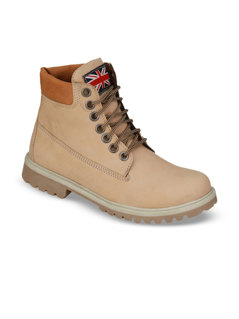 Eego Italy Men Beige Solid Synthetic Leather Mid-Top Flat Boots