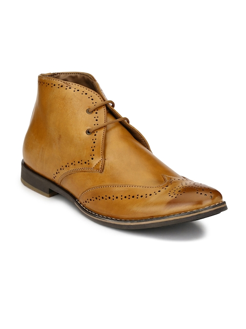 Eego Italy Men Brown Solid Synthetic Leather Mid-Top Flat Boots