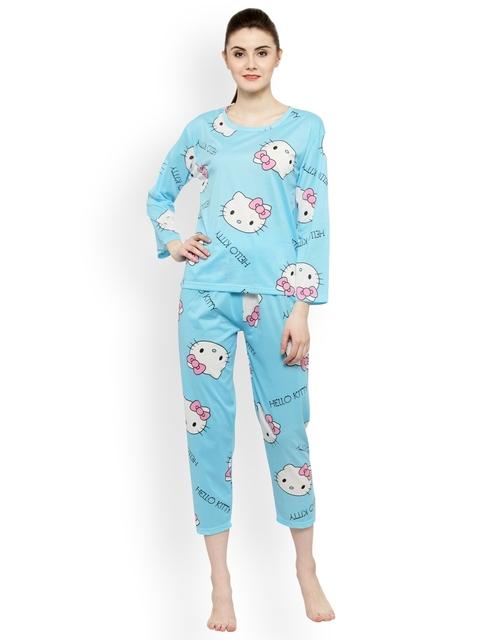 N-Gal Women Blue & Pink Printed Night suit