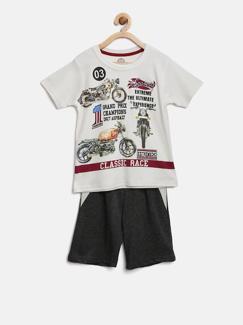 TAMBOURINE Boys White & Charcoal Grey Printed T-shirt with Shorts