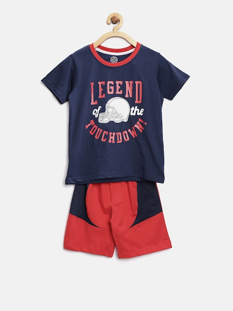 TAMBOURINE Boys Navy Blue & Red Printed T-shirt with Shorts