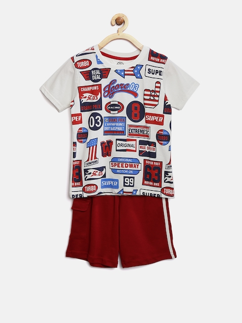 TAMBOURINE Boys White & Red Printed T-shirt with Shorts