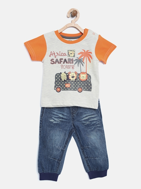 TAMBOURINE Boys Grey Melange & Blue Printed T-shirt with Trousers