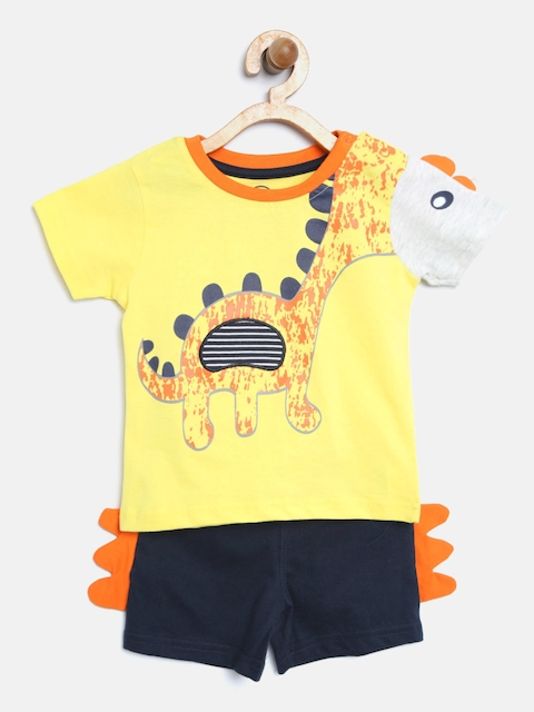 TAMBOURINE Boys Yellow & Navy Blue Printed T-shirt with Shorts