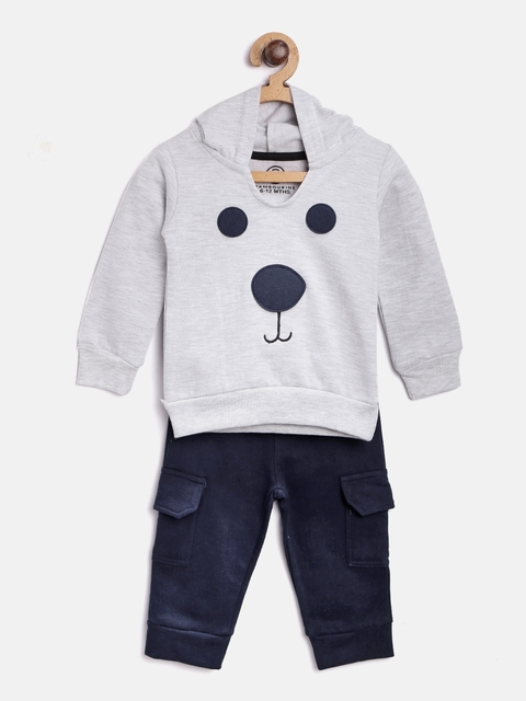 TAMBOURINE Boys Grey Melange & Navy Blue Applique Detail Sweatshirt with Trousers