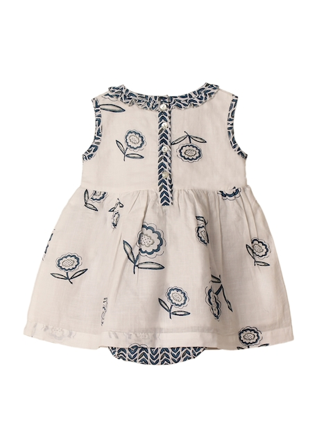 My Little Lambs Kids Beige & Blue Printed Layered Rompers