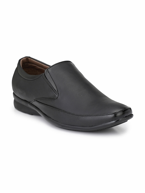 Prolific Men Black Formal Slip-On Shoes