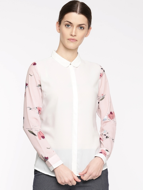 Arrow Woman White & Pink Original Regular Fit Solid Casual Shirt