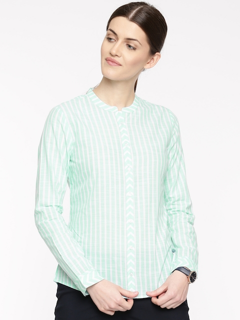 Arrow Woman Women Sea Green & White Regular Fit Striped Casual Shirt