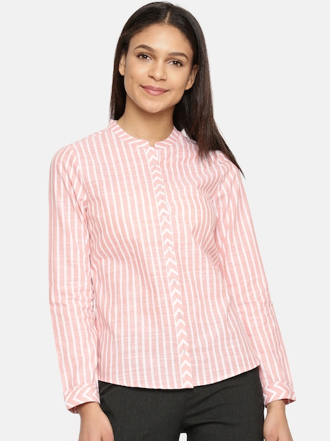 Arrow Woman Pink & White Regular Fit Striped Casual Shirt