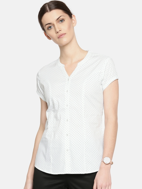 Arrow Woman Off-White & Black Regular Fit Printed Casual Shirt