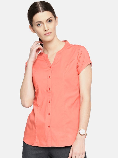 Arrow Woman Pink Regular Fit Solid Casual Shirt