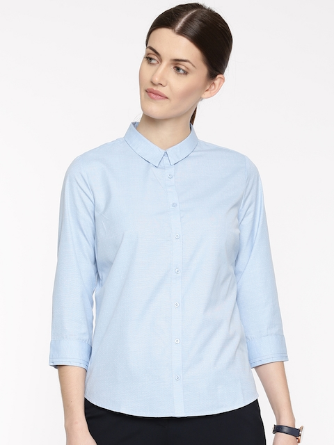 Arrow Woman Women Blue Original Regular Fit Self Design Casual Shirt