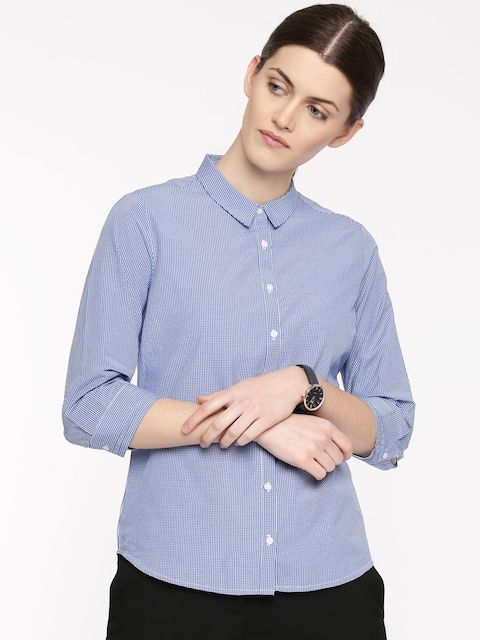 Arrow Woman Women Blue & White Regular Fit Checked Casual Shirt