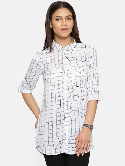 Arrow Woman White & Navy Regular Fit Checked Casual Shirt