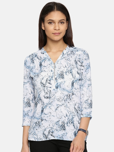 Arrow Woman Blue Printed Shirt-Style Top
