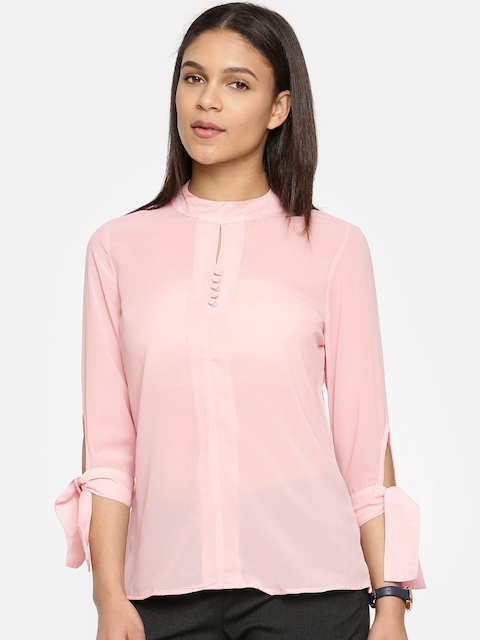 Arrow Woman Pink Solid Shirt Style Top