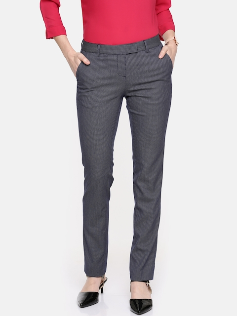 Arrow Woman Navy Tapered Fit Self-Design Formal Trousers