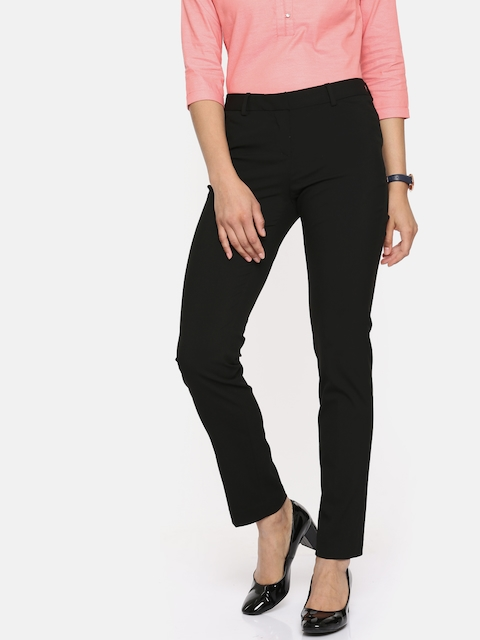 Arrow Woman Black Original Tapered Fit Solid Regular Trousers