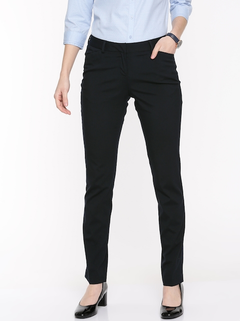 Arrow Woman Women Navy Blue Original Tapered Fit Solid Regular Trousers