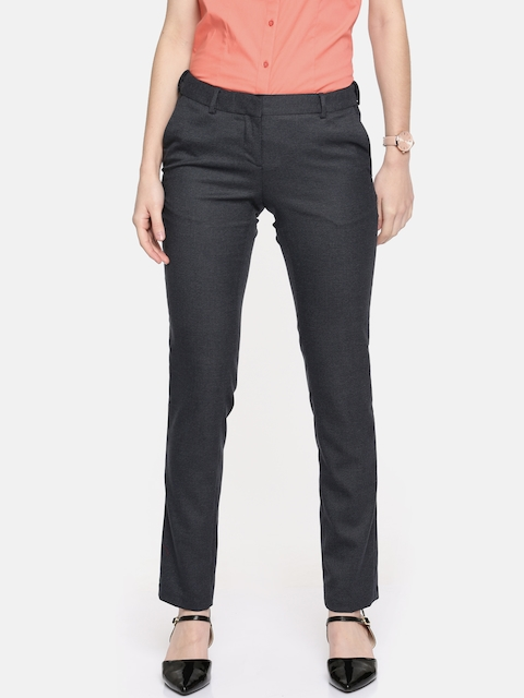 Arrow Woman Blue Original Tapered Fit Solid Formal Trousers
