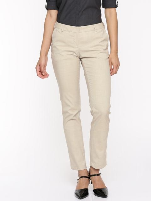 Arrow Woman Women Beige Original Tapered Fit Self Design Regular Trousers