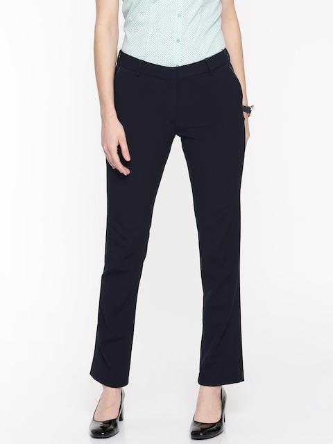 Arrow Woman Women Navy Blue Original Regular Fit Self Design Regular Trousers