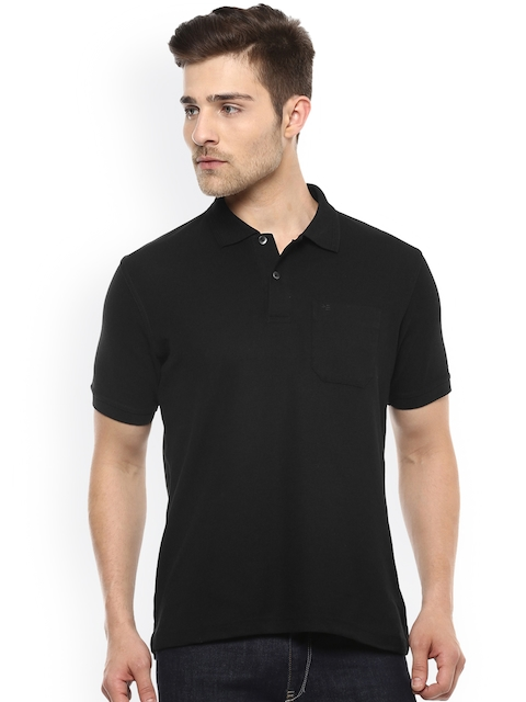 Peter England Men Black Solid Polo Collar T-shirt