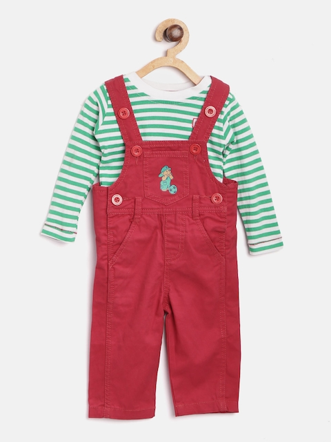 Baby League Boys Red Dungarees with T-shirt