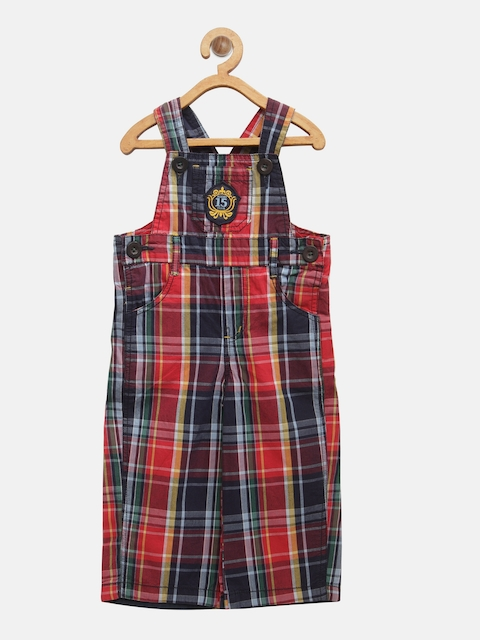 Baby League Boys Red & Navy Checked Dungarees