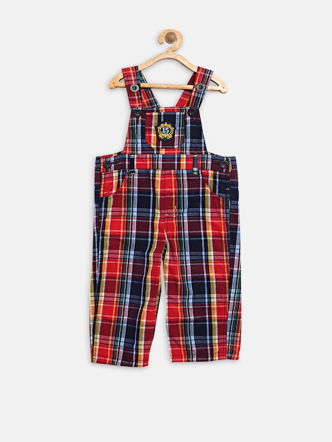 Baby League Boys Navy & Red Checked Dungarees