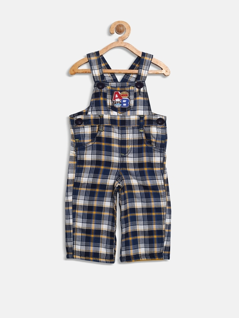 Baby League Boys Navy & White Checked Dungarees