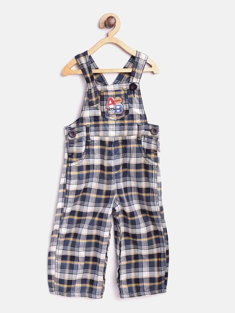 Baby League Boys Blue & White Checked Jumpsuit