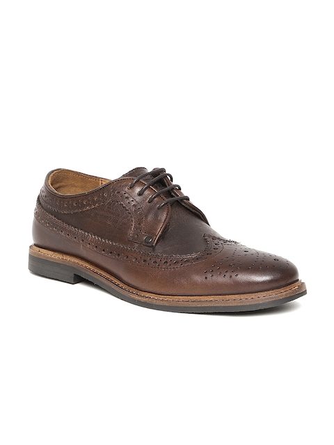 Levis Men Coffee Brown Leather Brogues
