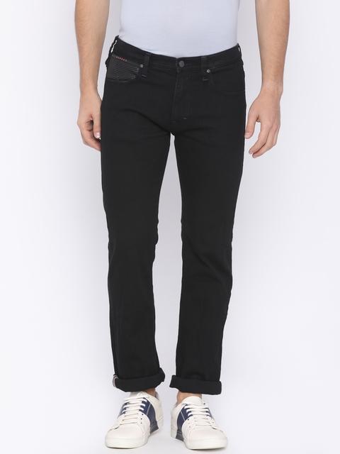 Lee Men Black Powell Slim Fit Mid-Rise Clean Look Stretchable Jeans