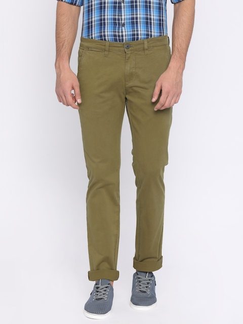Pepe Jeans Men Khaki Slim Fit Solid Chinos