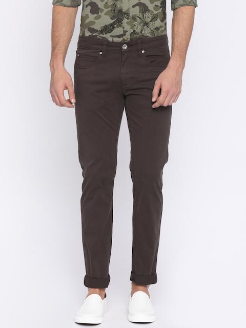 Pepe Jeans Men Brown Slim Fit Solid Chinos