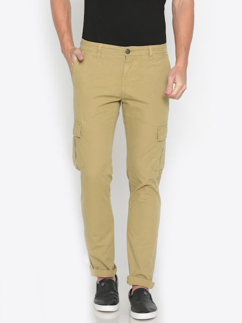 Pepe Jeans Men Khaki Slim Fit Solid Regular Trousers