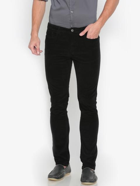 Pepe Jeans Men Black Slim Fit Solid Regular Trousers